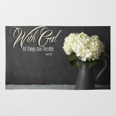 With God All Things Are Possible - Hydrangea Flower Rug