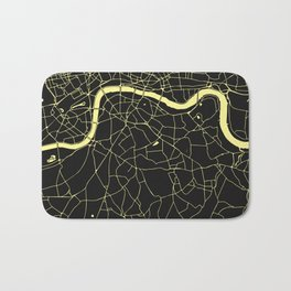 London Black on Yellow Street Map Bath Mat