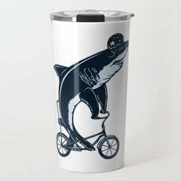 Shark on bike Travel Mug