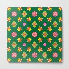 Crown Rose Pattern on Green Metal Print