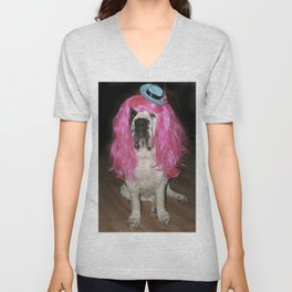 Funny St Bernard dog clowning around Unisex V-Neck
