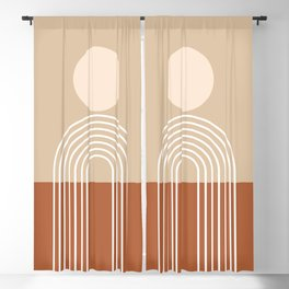 Geometric Lines in Terracotta and Beige 47 (Sun and Rainbow abstraction) Blackout Curtain