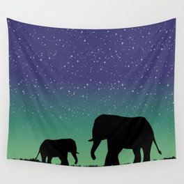 Elephant Silhouettes  Wall Tapestry