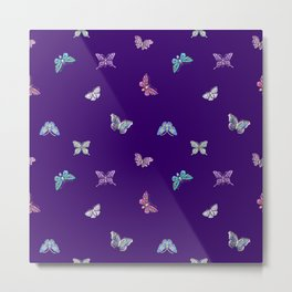Christmas Butterfly Ornaments on purple Metal Print