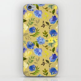 Modern lilac yellow green watercolor hand painted floral iPhone Skin