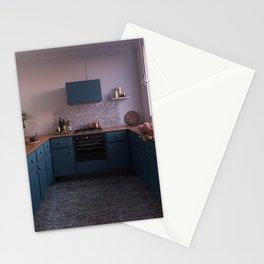Blue kitchen at sunset Stationery Cards