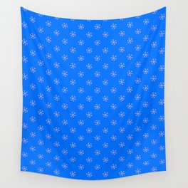 Cotton Candy Pink on Brandeis Blue Snowflakes Wall Tapestry
