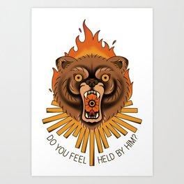 burning bear Art Print