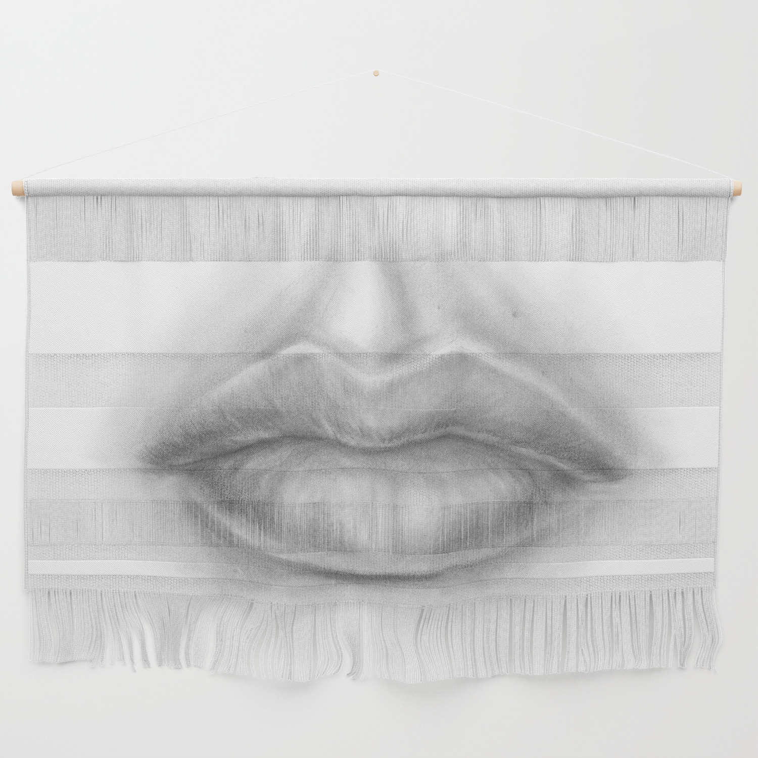Pouty sexy lips pencil art graphite drawing sexuality face wall hanging by magdaopoka