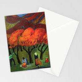 Autumn Fruit Harvest in a Mountain Garden landscape painting by Marianne von Werefkin Stationery Cards
