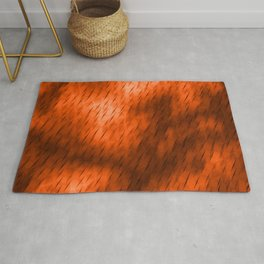 Line texture of brown oblique dashes with a bright intersection on a luminous charcoal. Rug