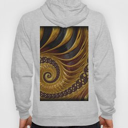 Gold Metallic Swirling Conch Shell Fractal Design Hoody