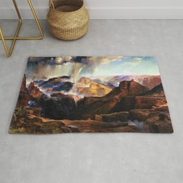 The Chasm of the Colorado, Windswept Rain Storm, Grand Canyon landscape by Thomas Moran Rug