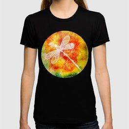 Dragonfly in embroidered beauty T-shirt