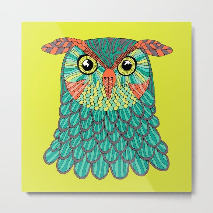 owl - Lime green Metal Print