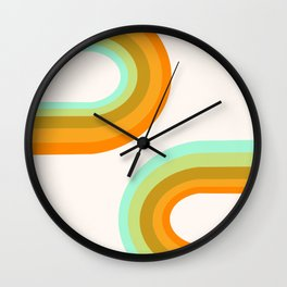 Dy-no-mite - retro throwback 70s style vibes 1970s art decor minimalist surfer Wall Clock