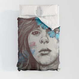 Softly Spoken Agony blue | flower girl pencil portrait Comforters