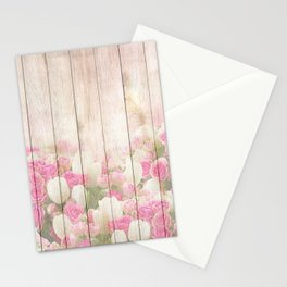 Beautiful Pink Tulip Floral Vintage Shabby Chic Stationery Cards