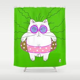 Big cat on the beach green Shower Curtain