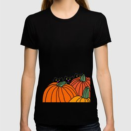 Three Black Cats in the Pumpkin Patch T-shirt