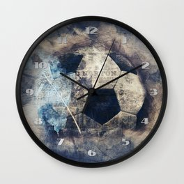 Abstract Grunge Soccer Wall Clock