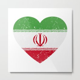I Love Iran Heart  TShirt Football Shirt Soccer Gift Idea  Metal Print