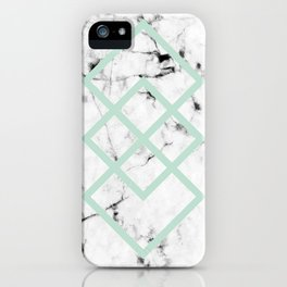White Marble Concrete Look Mint Green Geometric Squares iPhone Case