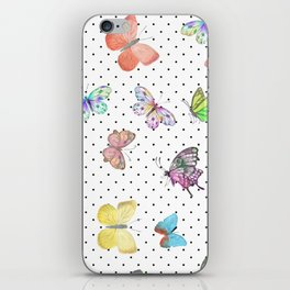 Colorful pink teal watercolor hand painted butterfly polka dots iPhone Skin