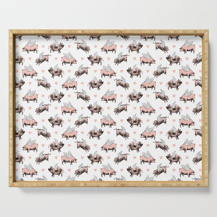 Flying Pigs | Vintage Pigs with Wings | Serving Tray