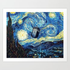 Tardis Starry Night Art Painting Art Print