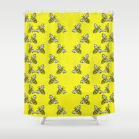 bee Shower Curtains featuring Bee. by mothermary