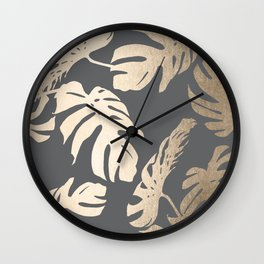 Simply Tropical Palm Leaves White Gold Sands on Storm Gray Wall Clock