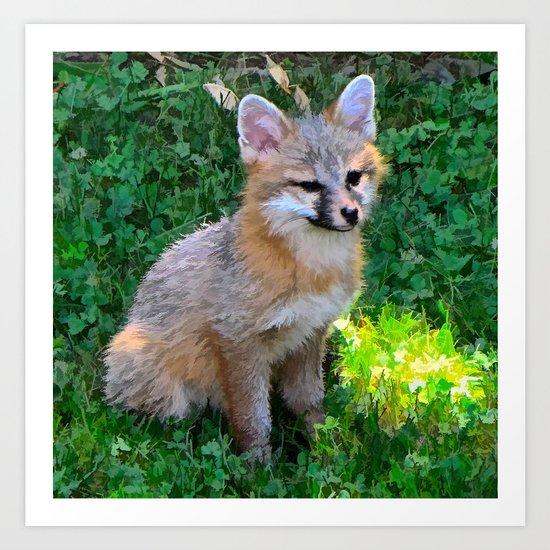 Little Grey Fox Art Print