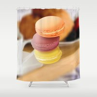 macarons Shower Curtains featuring macarons by raffons