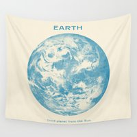 planet Wall Tapestries featuring Third Planet  by Terry Fan