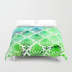 Damask in Bright Seaweed Duvet Cover