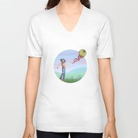 golf V-neck T-shirts featuring Zombie golf by Valentin Cottereau