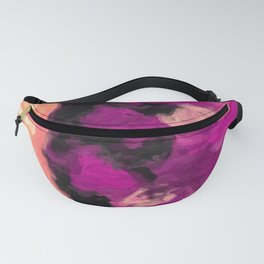 psychedelic splash painting abstract texture in pink purple black Fanny Pack