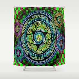 Variated Spheres #1 Psychedelic Celtic Design Shower Curtain