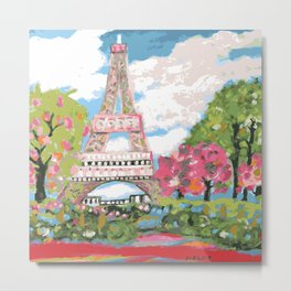 Eiffel Tower by Karen Fields Metal Print