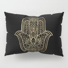 Lotus Gold Hamsa Hand Pillow Sham