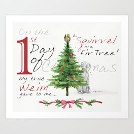 FIRST DAY OF CHRISTMAS WEIMS Art Print