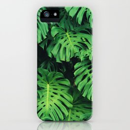 Monstera leaf jungle pattern - Philodendron plant leaves background iPhone Case