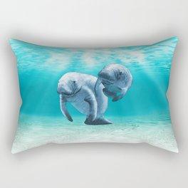 Two Manatees Swimming Rectangular Pillow