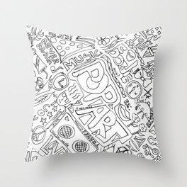 Graffiti: Black And White Throw Pillow