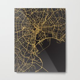TOKYO JAPAN GOLD ON BLACK CITY MAP Metal Print