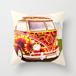 Flower Power Van Throw Pillow