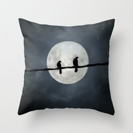 Silvery Moon And Crows Throw Pillow