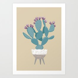 Prickly pear cactus in a basket planter Art Print