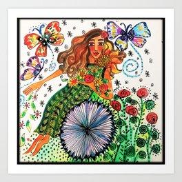 Persephone in Her Garden Art Print